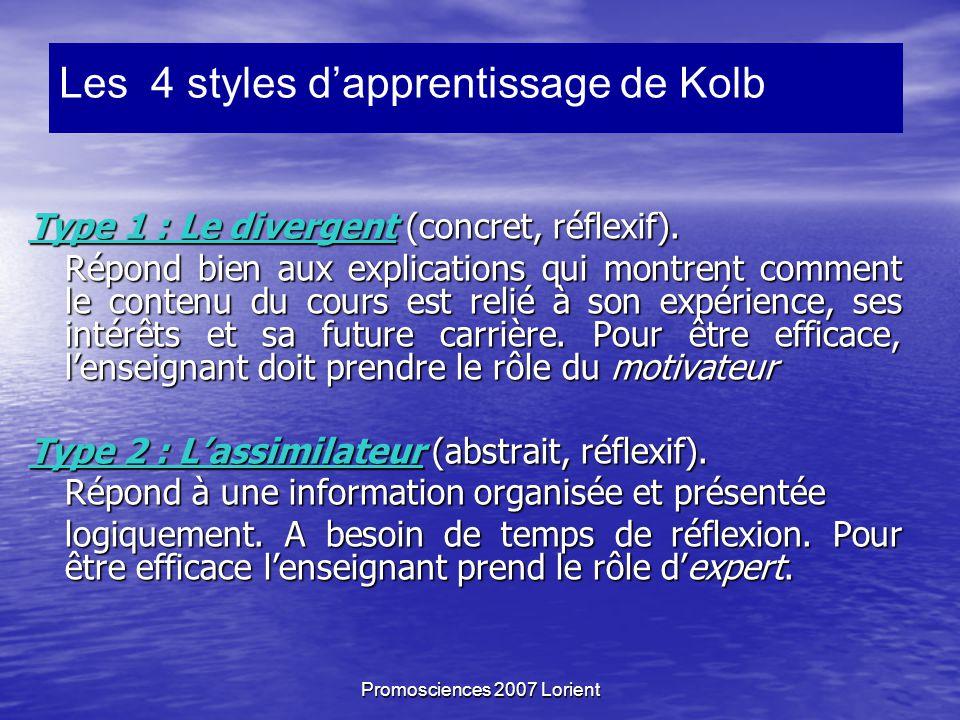 Promosciences 2007 Lorient Type 1 : Le divergent (concret, réflexif).