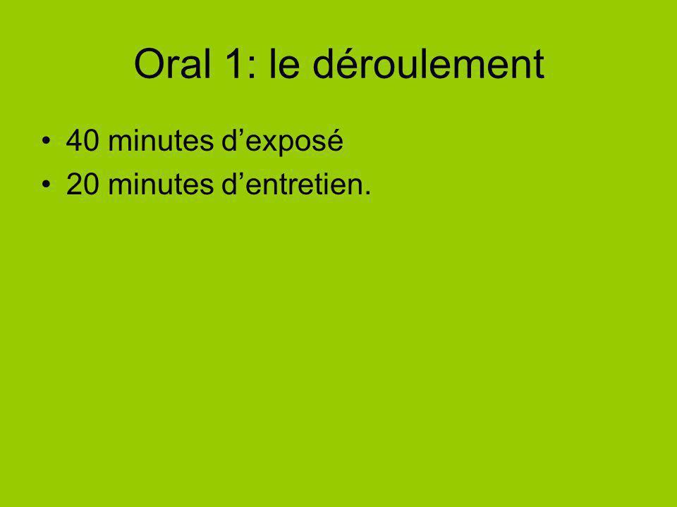 Oral 1: le déroulement 40 minutes dexposé 20 minutes dentretien.