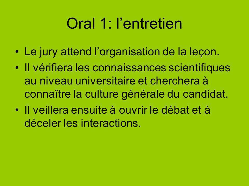 Oral 1: lentretien Le jury attend lorganisation de la leçon. Il vérifiera les connaissances scientifiques au niveau universitaire et cherchera à conna