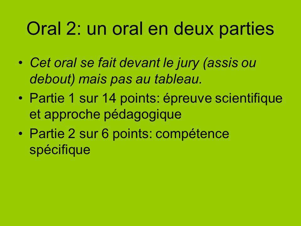 Oral 2: un oral en deux parties Cet oral se fait devant le jury (assis ou debout) mais pas au tableau. Partie 1 sur 14 points: épreuve scientifique et