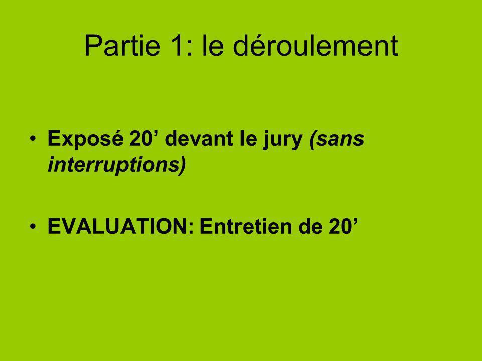 Partie 1: le déroulement Exposé 20 devant le jury (sans interruptions) EVALUATION: Entretien de 20