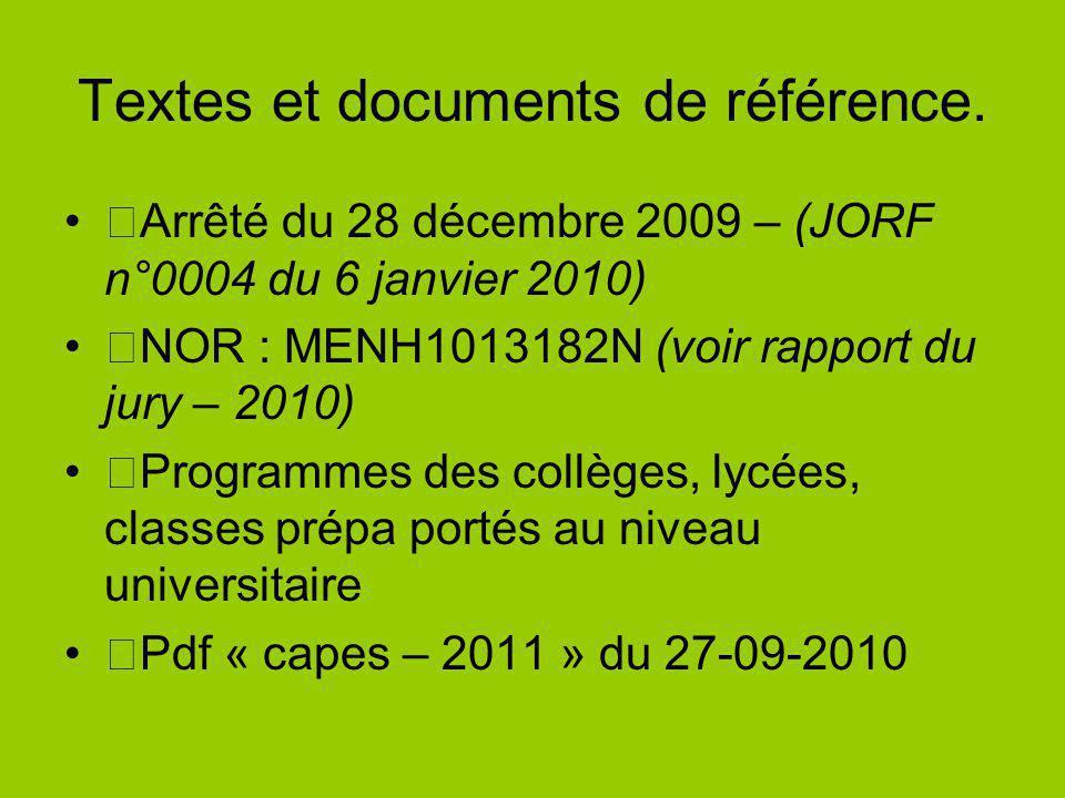 Arrêté du 28 décembre 2009 – (JORF n°0004 du 6 janvier 2010) NOR : MENH1013182N (voir rapport du jury – 2010) Programmes des collèges, lycées, classes prépa portés au niveau universitaire Pdf « capes – 2011 » du 27-09-2010 Textes et documents de référence.
