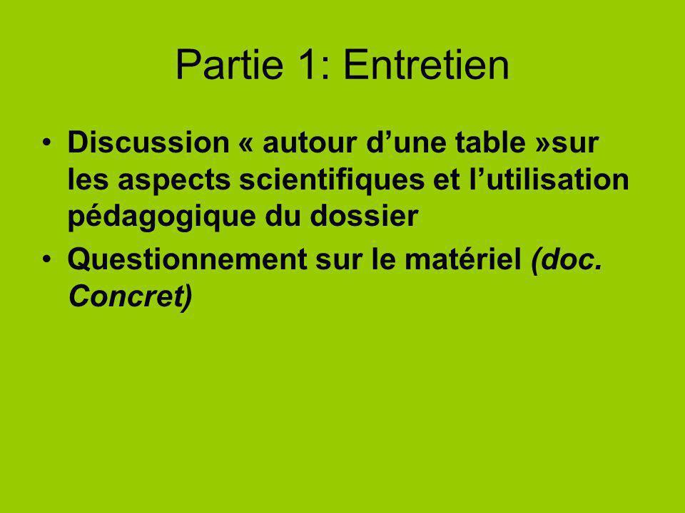 Partie 1: Entretien Discussion « autour dune table »sur les aspects scientifiques et lutilisation pédagogique du dossier Questionnement sur le matérie