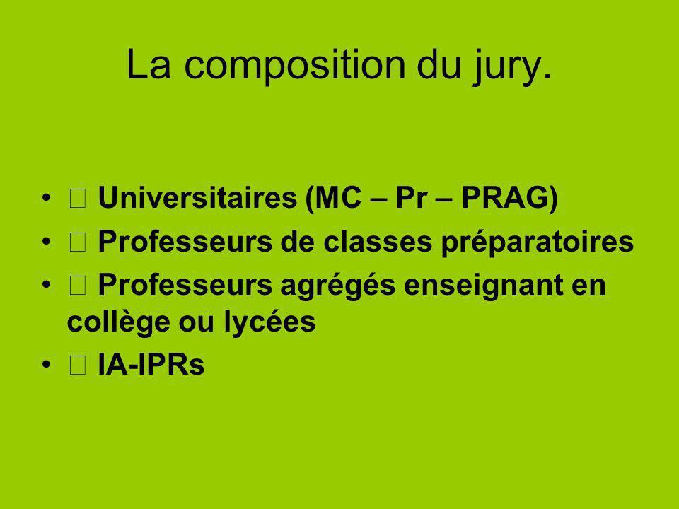 La composition du jury. Universitaires (MC – Pr – PRAG) Professeurs de classes préparatoires Professeurs agrégés enseignant en collège ou lycées IA-IP