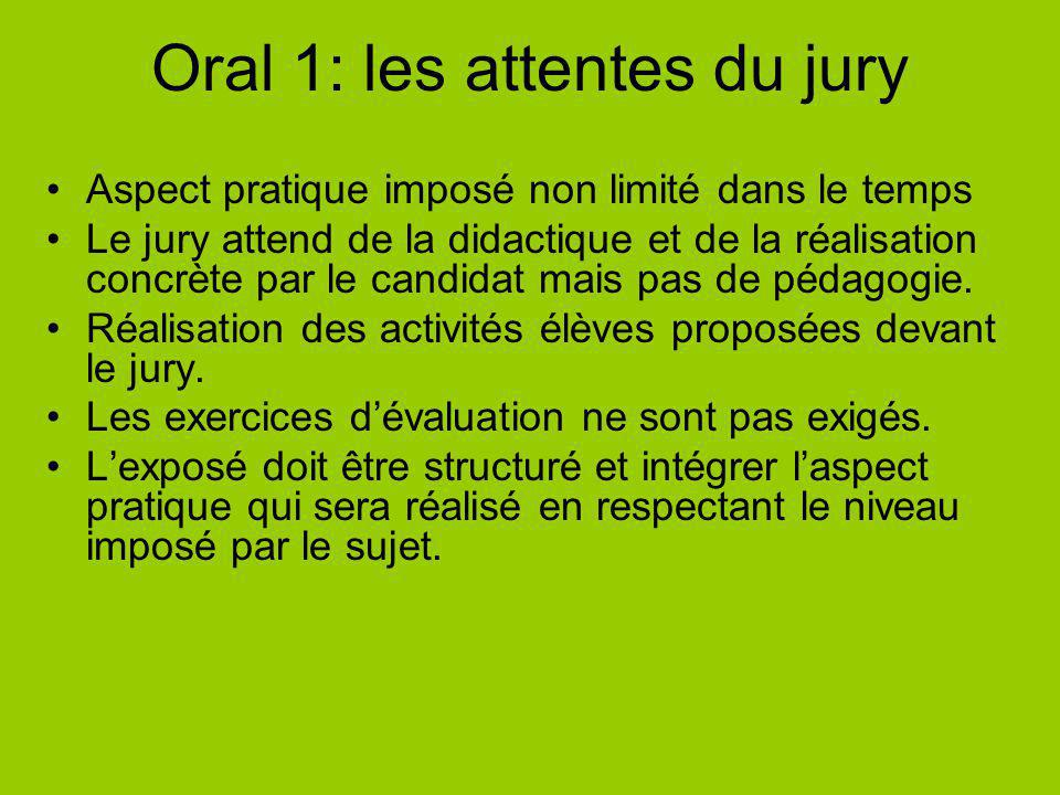 Oral 1: les attentes du jury Aspect pratique imposé non limité dans le temps Le jury attend de la didactique et de la réalisation concrète par le candidat mais pas de pédagogie.