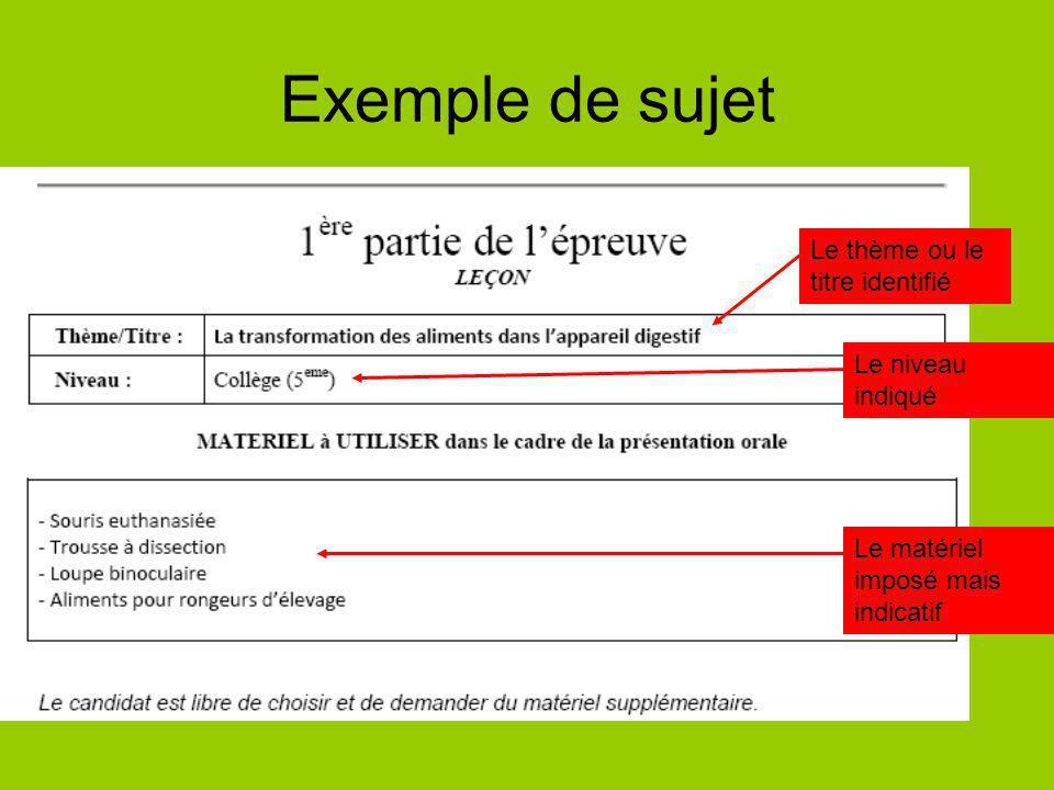 Exemple de sujet Le thème ou le titre identifié Le niveau indiqué Le matériel imposé mais indicatif