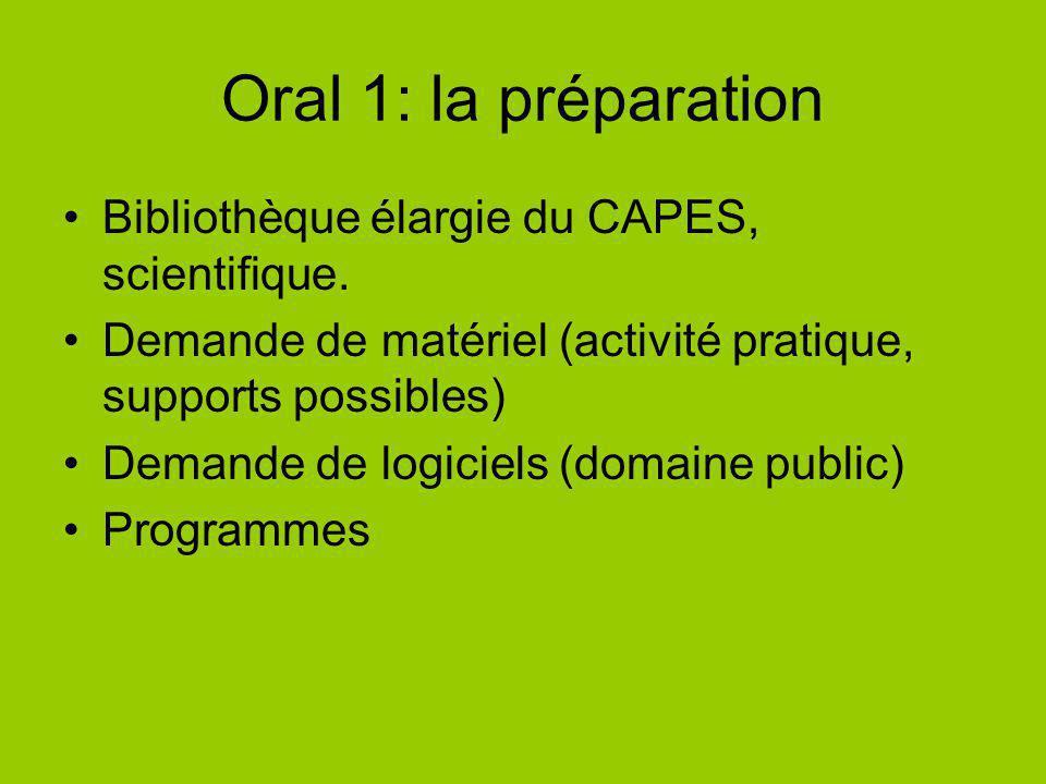 Oral 1: la préparation Bibliothèque élargie du CAPES, scientifique. Demande de matériel (activité pratique, supports possibles) Demande de logiciels (