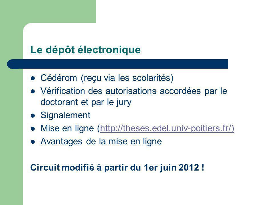 Le dépôt électronique Cédérom (reçu via les scolarités) Vérification des autorisations accordées par le doctorant et par le jury Signalement Mise en ligne (http://theses.edel.univ-poitiers.fr/)http://theses.edel.univ-poitiers.fr/) Avantages de la mise en ligne Circuit modifié à partir du 1er juin 2012 !
