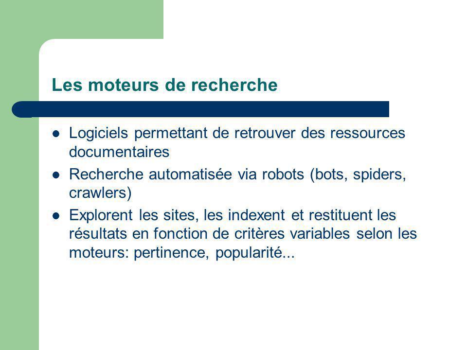 Les moteurs de recherche Logiciels permettant de retrouver des ressources documentaires Recherche automatisée via robots (bots, spiders, crawlers) Explorent les sites, les indexent et restituent les résultats en fonction de critères variables selon les moteurs: pertinence, popularité...