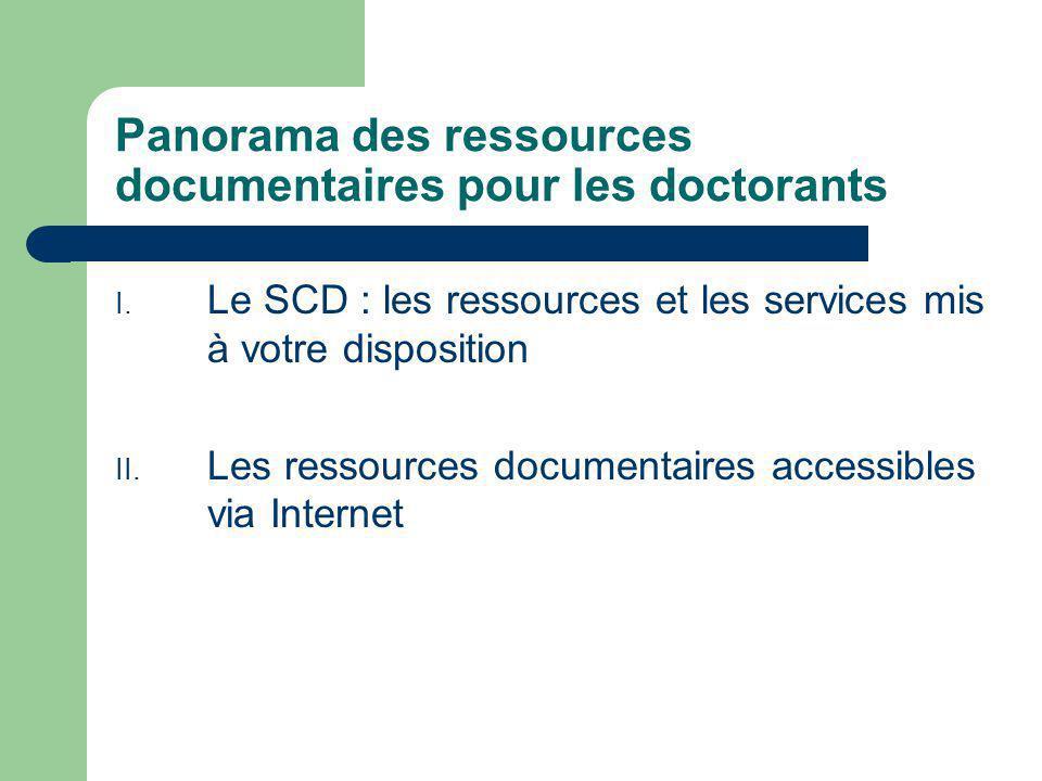 Panorama des ressources documentaires pour les doctorants I.