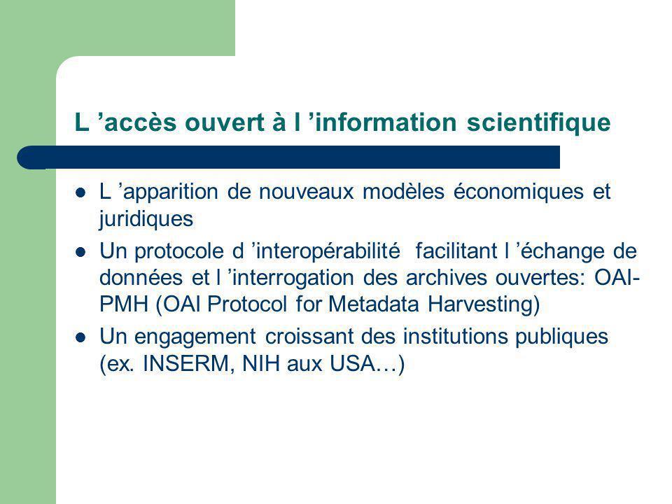 L accès ouvert à l information scientifique L apparition de nouveaux modèles économiques et juridiques Un protocole d interopérabilité facilitant l échange de données et l interrogation des archives ouvertes: OAI- PMH (OAI Protocol for Metadata Harvesting) Un engagement croissant des institutions publiques (ex.