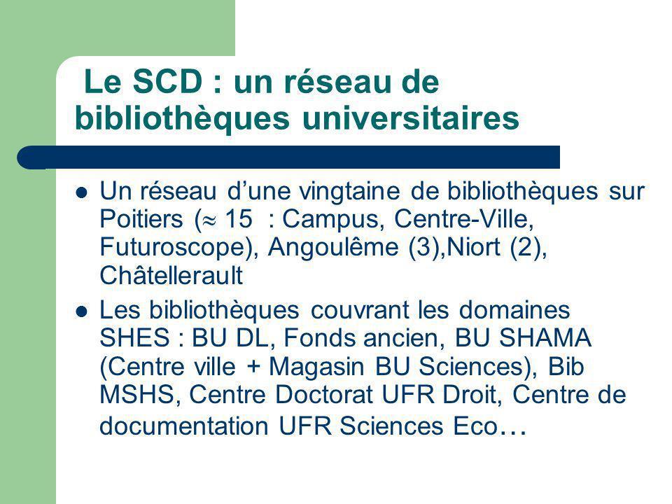Le SCD : un réseau de bibliothèques universitaires Un réseau dune vingtaine de bibliothèques sur Poitiers ( 15 : Campus, Centre-Ville, Futuroscope), Angoulême (3),Niort (2), Châtellerault Les bibliothèques couvrant les domaines SHES : BU DL, Fonds ancien, BU SHAMA (Centre ville + Magasin BU Sciences), Bib MSHS, Centre Doctorat UFR Droit, Centre de documentation UFR Sciences Eco …