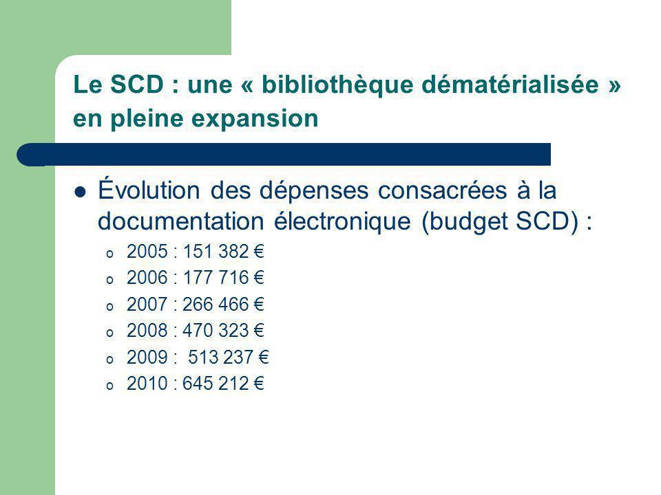 Le SCD : une « bibliothèque dématérialisée » en pleine expansion Évolution des dépenses consacrées à la documentation électronique (budget SCD) : o 2005 : 151 382 o 2006 : 177 716 o 2007 : 266 466 o 2008 : 470 323 o 2009 : 513 237 o 2010 : 645 212