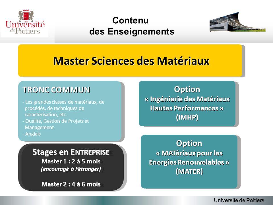 Contenu des Enseignements Université de Poitiers TRONC COMMUN - Les grandes classes de matériaux, de procédés, de techniques de caractérisation, etc.