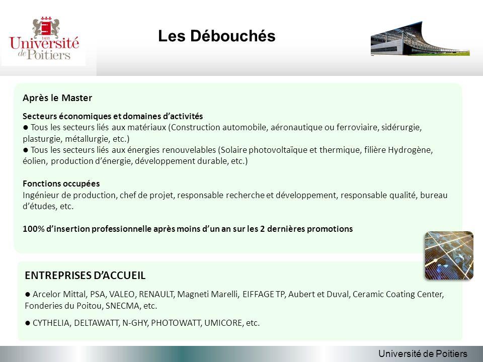 Les Débouchés Université de Poitiers Après le Master Secteurs économiques et domaines dactivités Tous les secteurs liés aux matériaux (Construction au