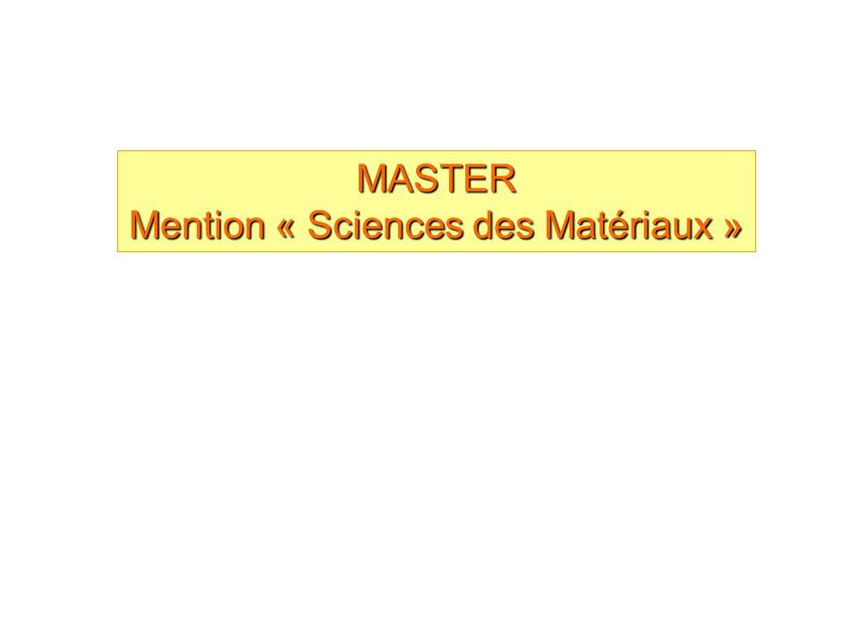 MASTER Mention « Sciences des Matériaux »