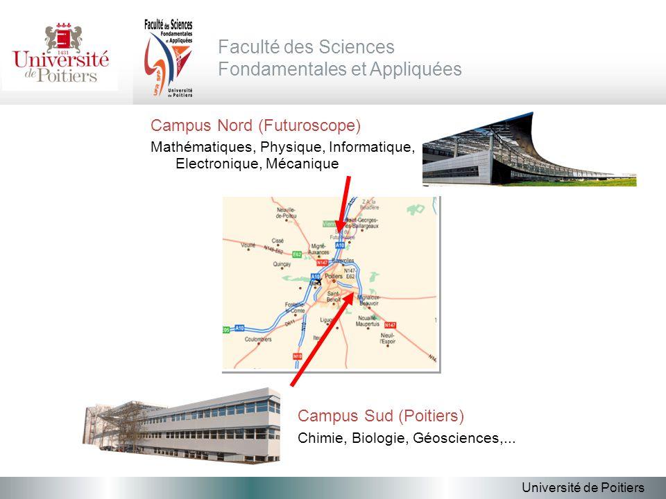 Campus Nord (Futuroscope) Mathématiques, Physique, Informatique, Electronique, Mécanique Université de Poitiers Faculté des Sciences Fondamentales et Appliquées Campus Sud (Poitiers) Chimie, Biologie, Géosciences,...