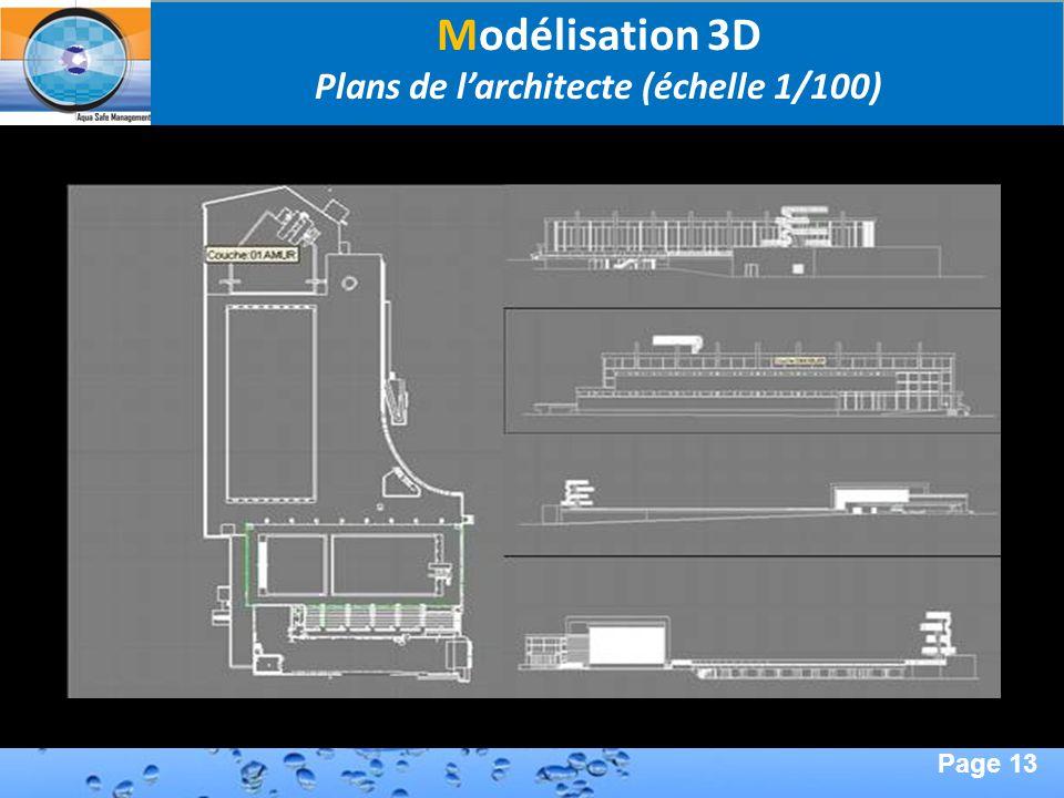 Page 13 Second Page : Modélisation 3D Plans de larchitecte (échelle 1/100)