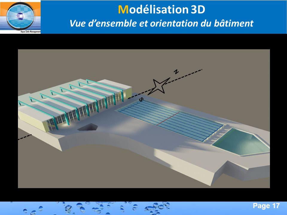 Page 17 Second Page : Modélisation 3D Vue densemble et orientation du bâtiment N S