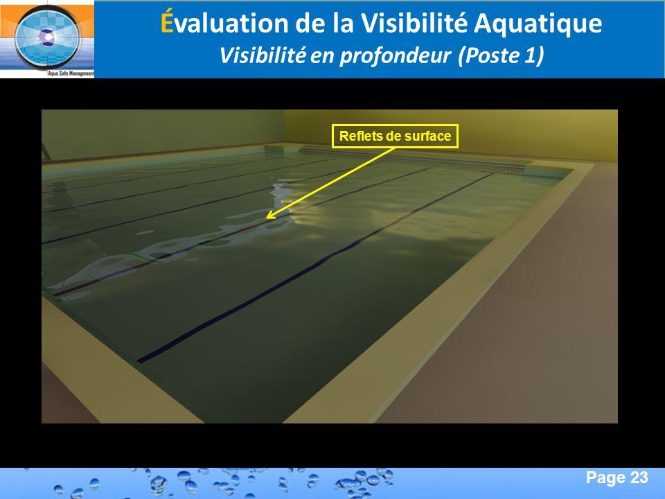 Page 23 Second Page : Évaluation de la Visibilité Aquatique Visibilité en profondeur (Poste 1) Reflets de surface