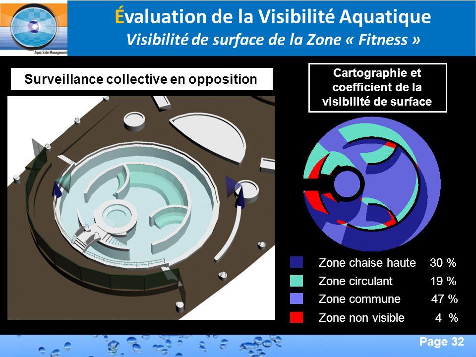 Page 32 Second Page : Évaluation de la Visibilité Aquatique Visibilité de surface de la Zone « Fitness » Zone commune 47 % Zone non visible 4 % Zone c