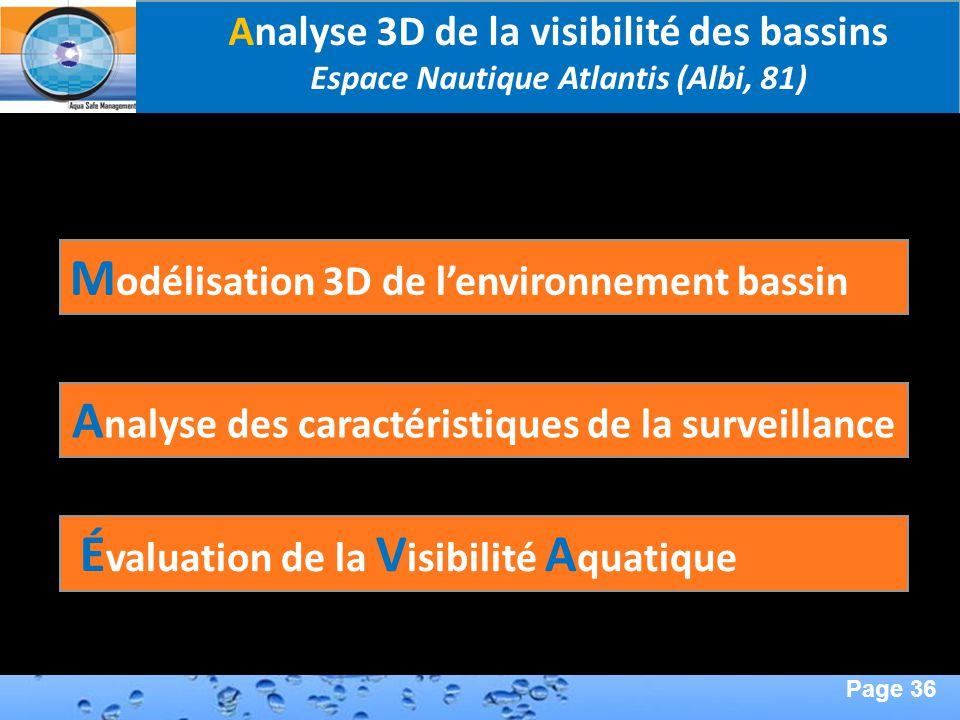 Page 36 Second Page : A nalyse des caractéristiques de la surveillance M odélisation 3D de lenvironnement bassin É valuation de la V isibilité A quati