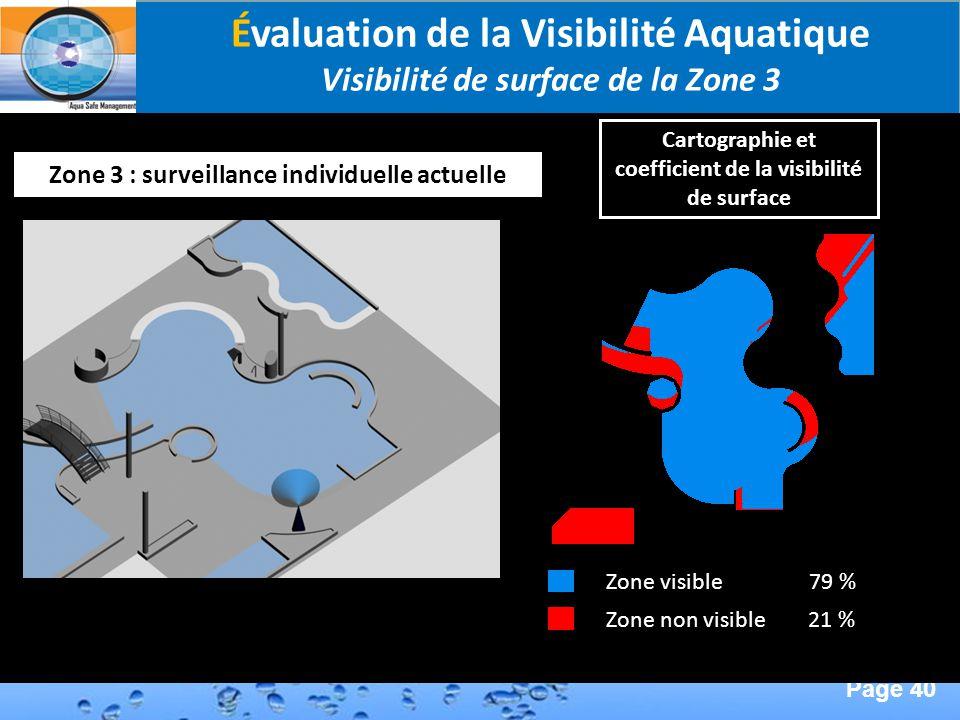 Page 40 Second Page : Zone 3 : surveillance individuelle actuelle Zone visible 79 % Zone non visible 21 % Évaluation de la Visibilité Aquatique Visibi