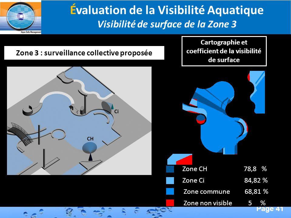 Page 41 Second Page : Évaluation de la Visibilité Aquatique Visibilité de surface de la Zone 3 Zone 3 : surveillance collective proposée Zone commune