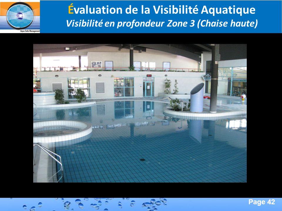 Page 42 Second Page : Évaluation de la Visibilité Aquatique Visibilité en profondeur Zone 3 (Chaise haute)
