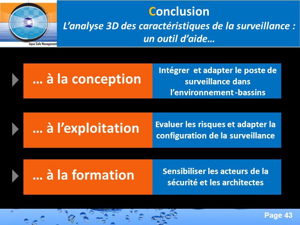 Page 43 Second Page : Conclusion Lanalyse 3D des caractéristiques de la surveillance : un outil daide… … à la conception Intégrer et adapter le poste