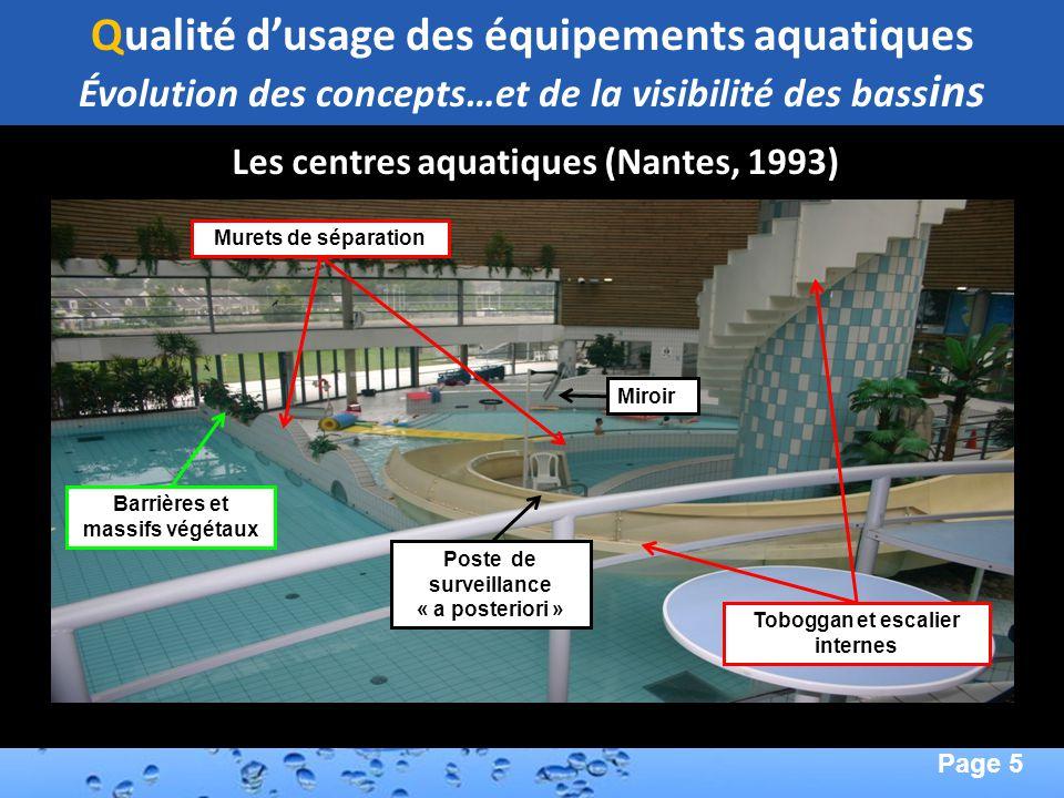 Page 5 Second Page : Les centres aquatiques (Nantes, 1993) Murets de séparation Barrières et massifs végétaux Toboggan et escalier internes Miroir Pos