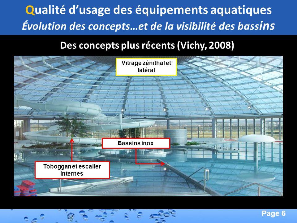 Page 6 Second Page : Qualité dusage des équipements aquatiques Évolution des concepts…et de la visibilité des bass ins Des concepts plus récents (Vich