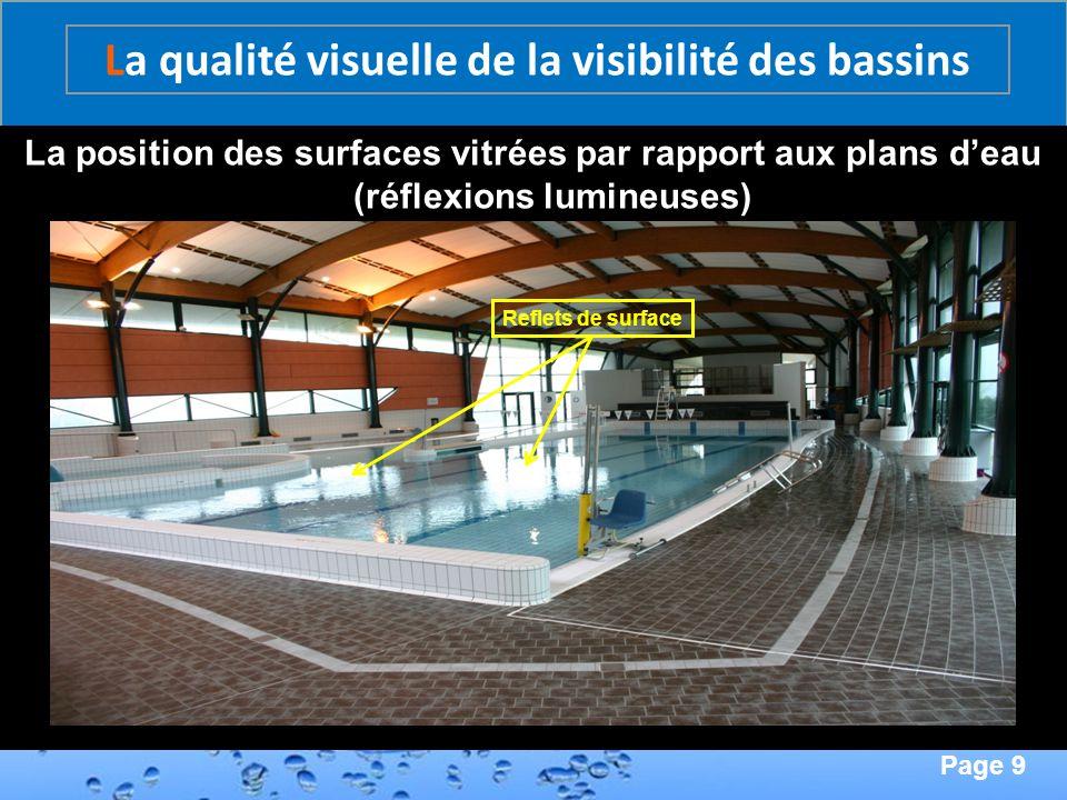 Page 9 Second Page : La position des surfaces vitrées par rapport aux plans deau (réflexions lumineuses) La qualité visuelle de la visibilité des bass