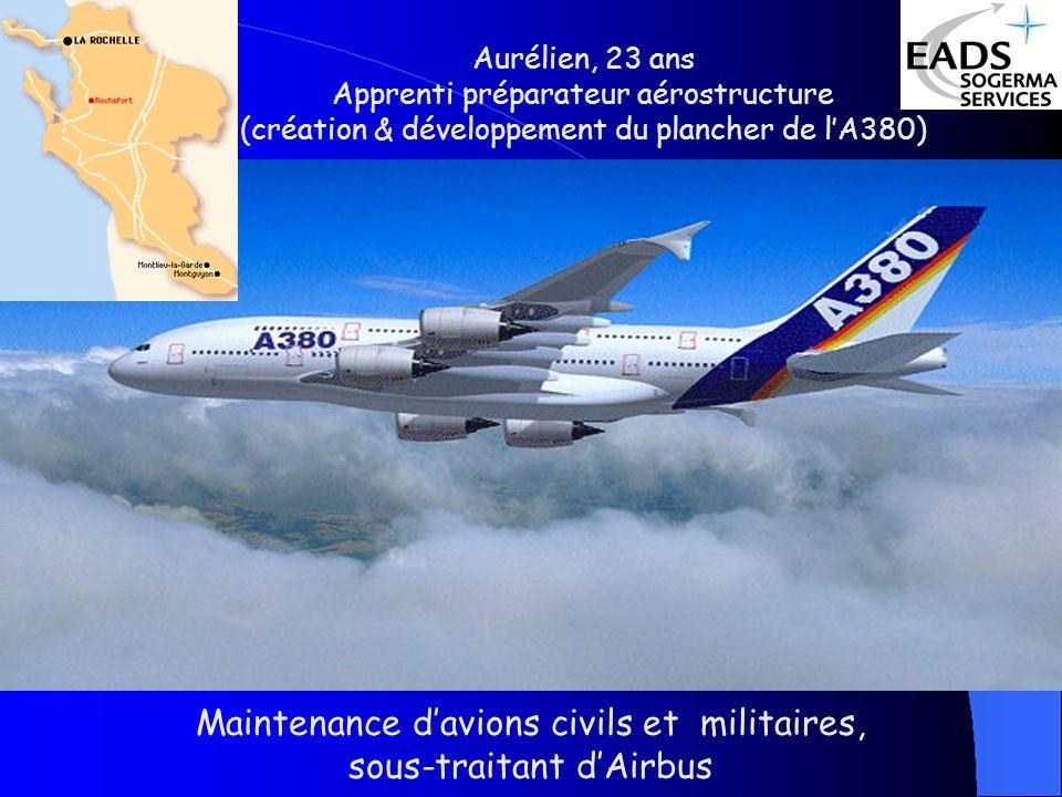 Aurélien, 23 ans Apprenti préparateur aérostructure (création & développement du plancher de lA380) Maintenance davions civils et militaires, sous-traitant dAirbus