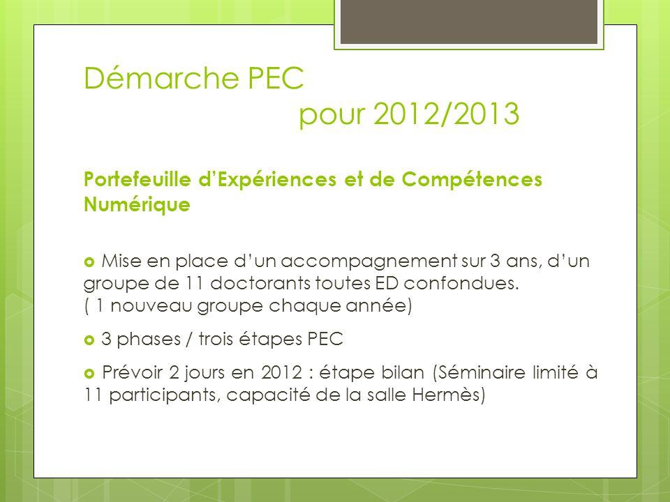Démarche PEC pour 2012/2013 Portefeuille dExpériences et de Compétences Numérique Mise en place dun accompagnement sur 3 ans, dun groupe de 11 doctorants toutes ED confondues.