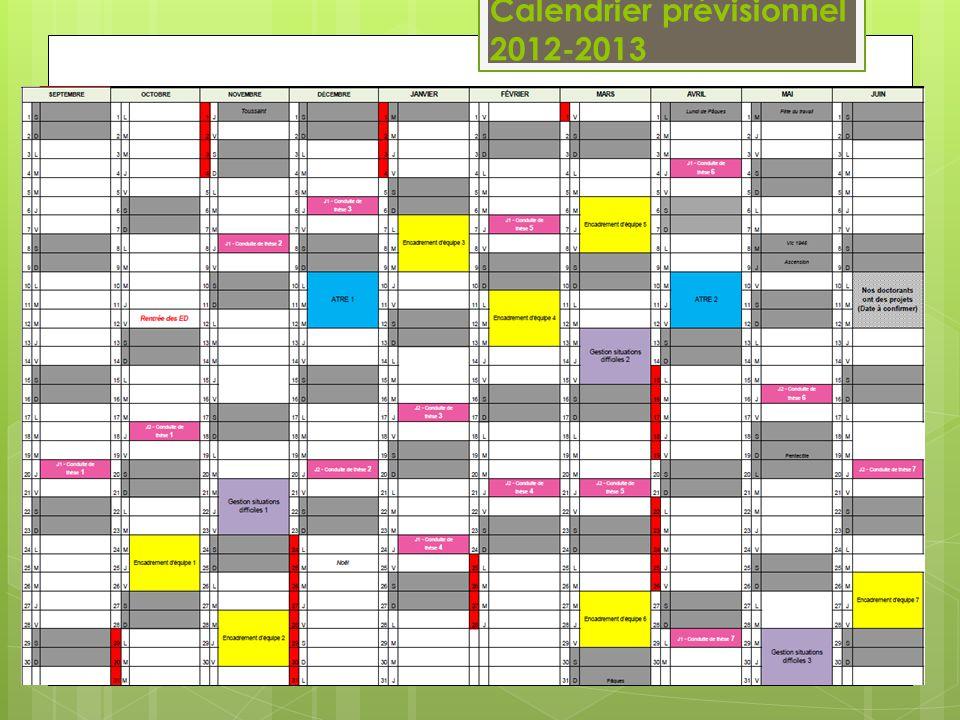 Calendrier prévisionnel 2012-2013