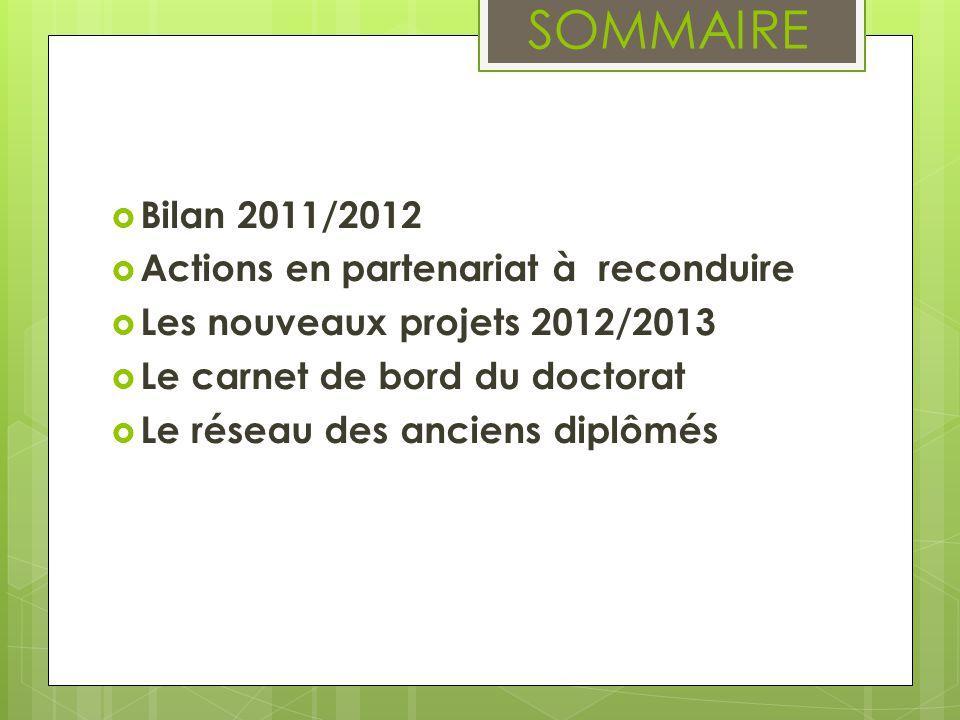 SOMMAIRE Bilan 2011/2012 Actions en partenariat à reconduire Les nouveaux projets 2012/2013 Le carnet de bord du doctorat Le réseau des anciens diplômés