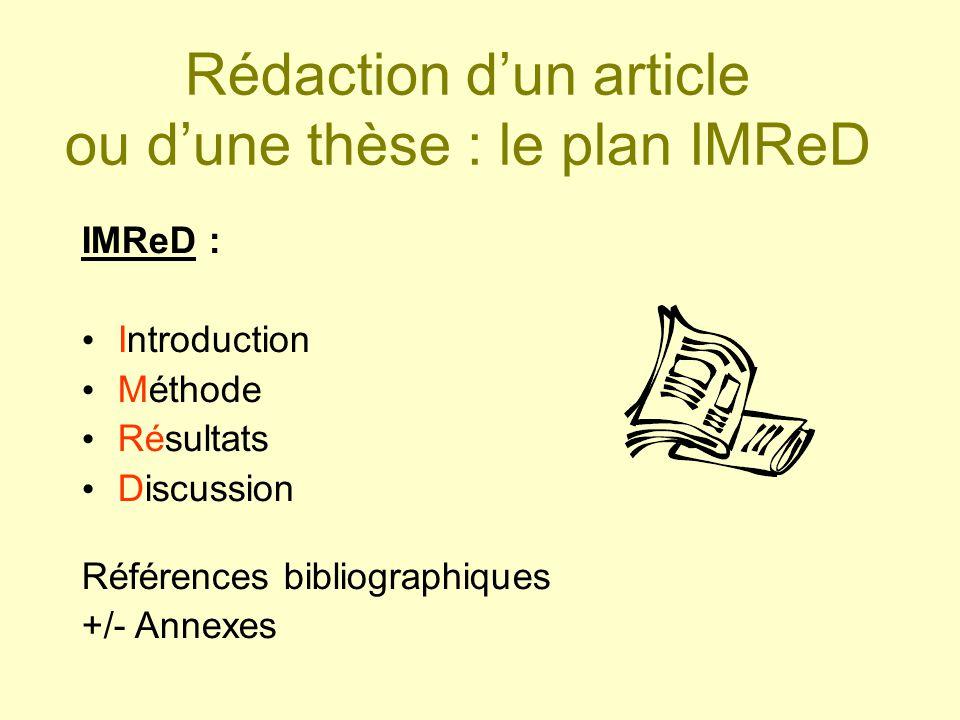 Rédaction dun article ou dune thèse : le plan IMReD IMReD : Introduction Méthode Résultats Discussion Références bibliographiques +/- Annexes