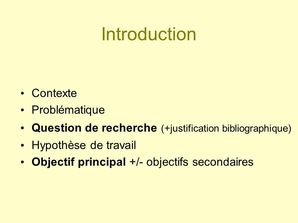 Méthode Type détude Population détude, critères dinclusion Critère de jugement principal (quanti) +/- Critères de jugement secondaires Déroulement concret : méthode de recueil des données...
