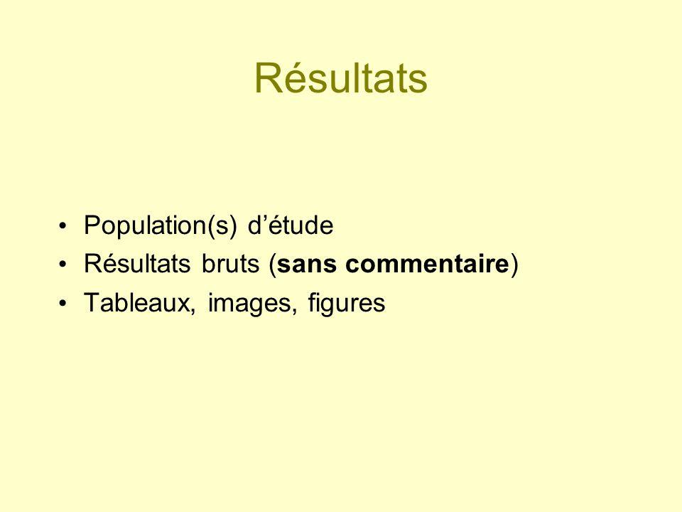 Résultats Population(s) détude Résultats bruts (sans commentaire) Tableaux, images, figures