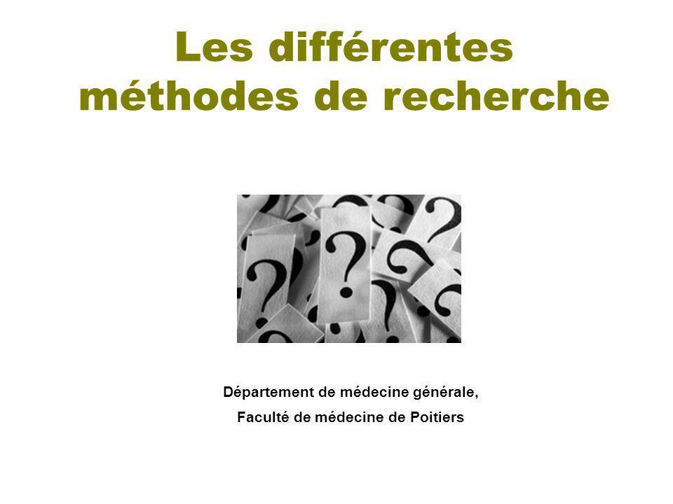 Département de médecine générale, Faculté de médecine de Poitiers Les différentes méthodes de recherche
