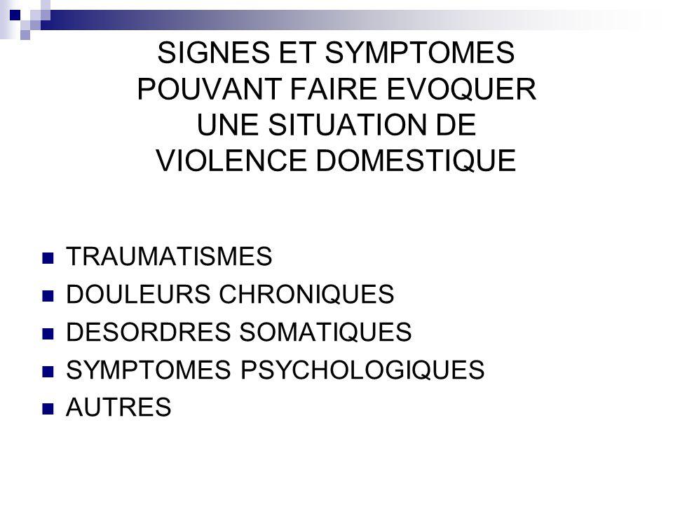 SIGNES ET SYMPTOMES POUVANT FAIRE EVOQUER UNE SITUATION DE VIOLENCE DOMESTIQUE TRAUMATISMES DOULEURS CHRONIQUES DESORDRES SOMATIQUES SYMPTOMES PSYCHOL