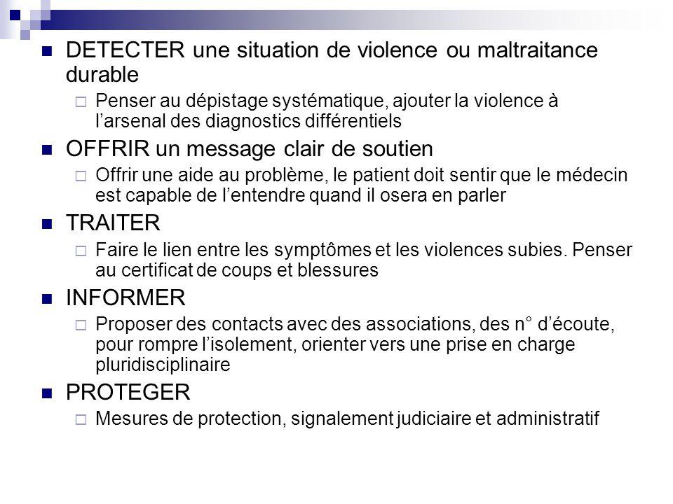 DETECTER une situation de violence ou maltraitance durable Penser au dépistage systématique, ajouter la violence à larsenal des diagnostics différenti