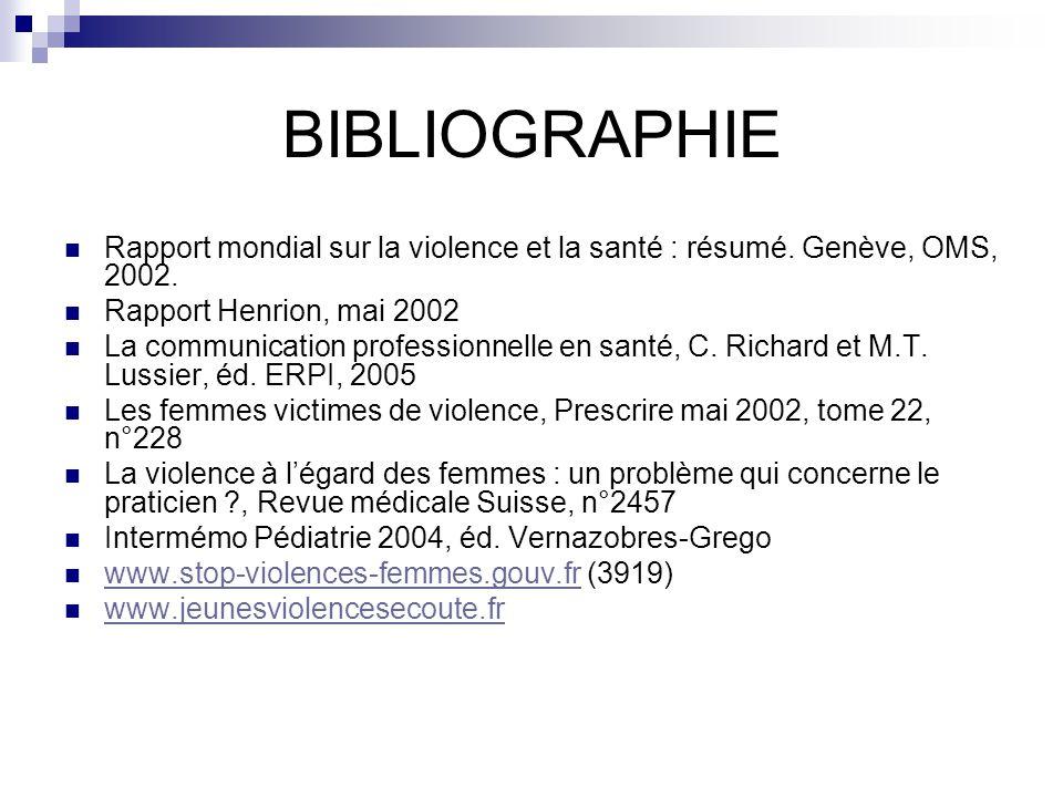 BIBLIOGRAPHIE Rapport mondial sur la violence et la santé : résumé. Genève, OMS, 2002. Rapport Henrion, mai 2002 La communication professionnelle en s
