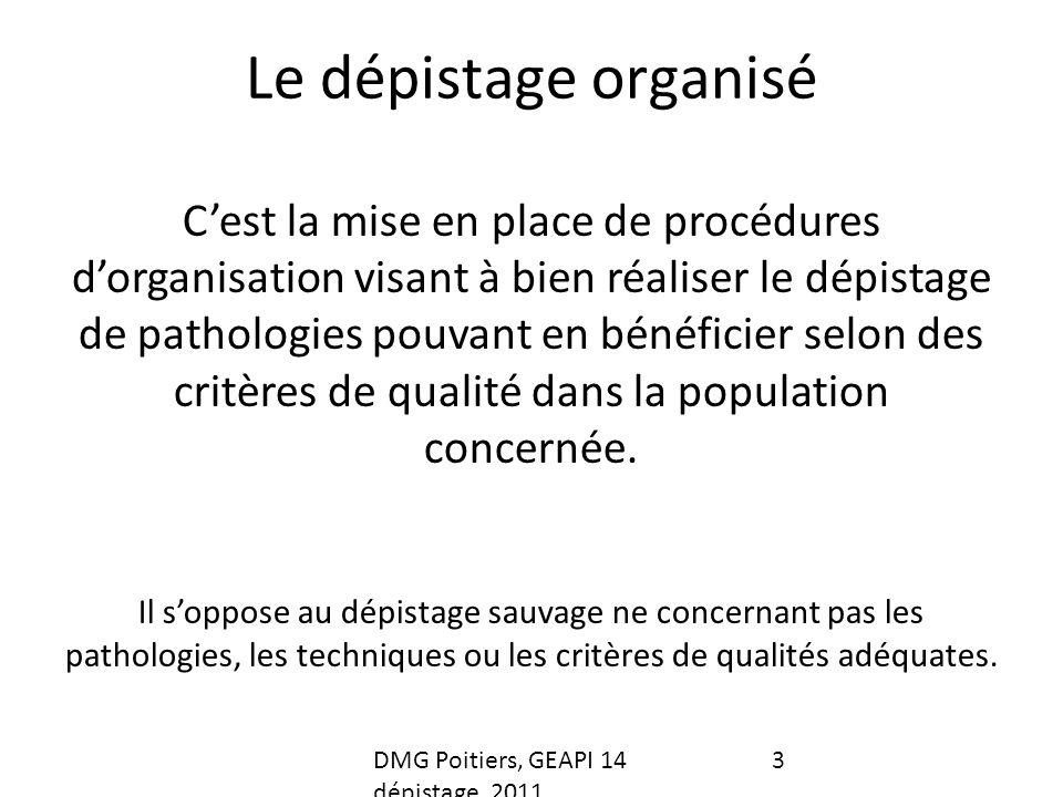 Le dépistage organisé Cest la mise en place de procédures dorganisation visant à bien réaliser le dépistage de pathologies pouvant en bénéficier selon des critères de qualité dans la population concernée.