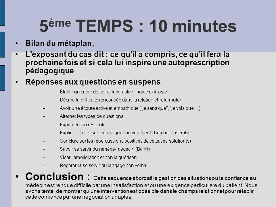 5 ème TEMPS : 10 minutes Bilan du métaplan, L'exposant du cas dit : ce qu'il a compris, ce qu'il fera la prochaine fois et si cela lui inspire une aut