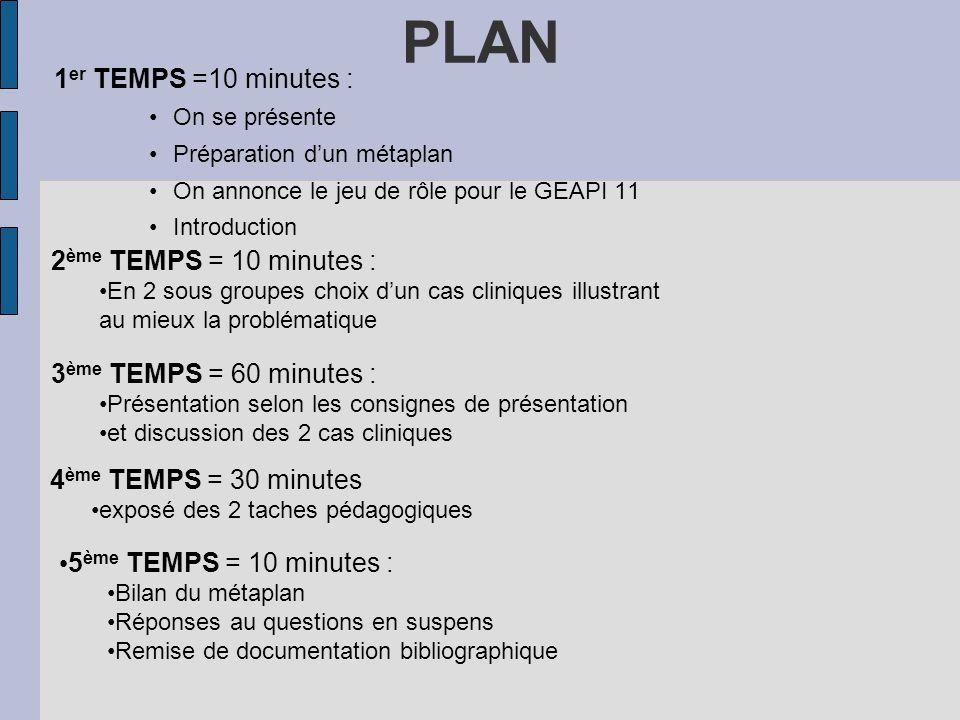 PLAN 1 er TEMPS =10 minutes : On se présente Préparation dun métaplan On annonce le jeu de rôle pour le GEAPI 11 Introduction 2 ème TEMPS = 10 minutes
