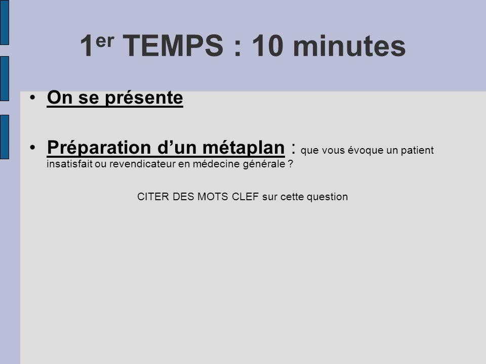 1 er TEMPS : 10 minutes On se présente Préparation dun métaplan : que vous évoque un patient insatisfait ou revendicateur en médecine générale ? CITER