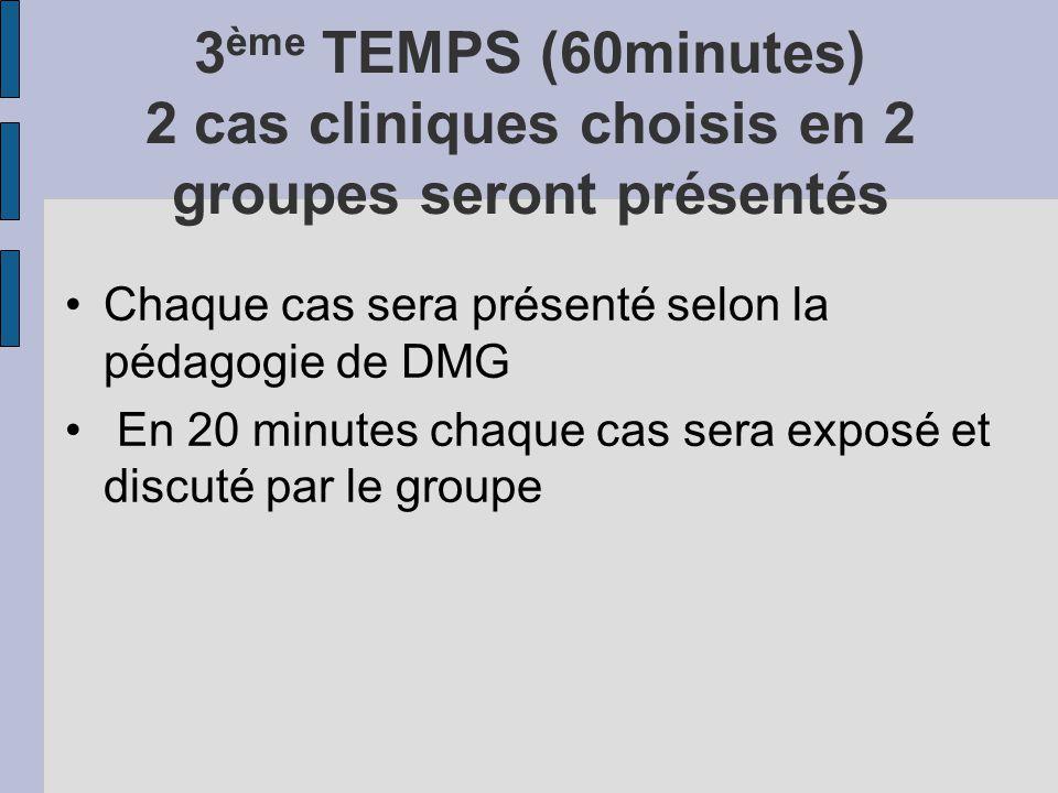 3 ème TEMPS (60minutes) 2 cas cliniques choisis en 2 groupes seront présentés Chaque cas sera présenté selon la pédagogie de DMG En 20 minutes chaque