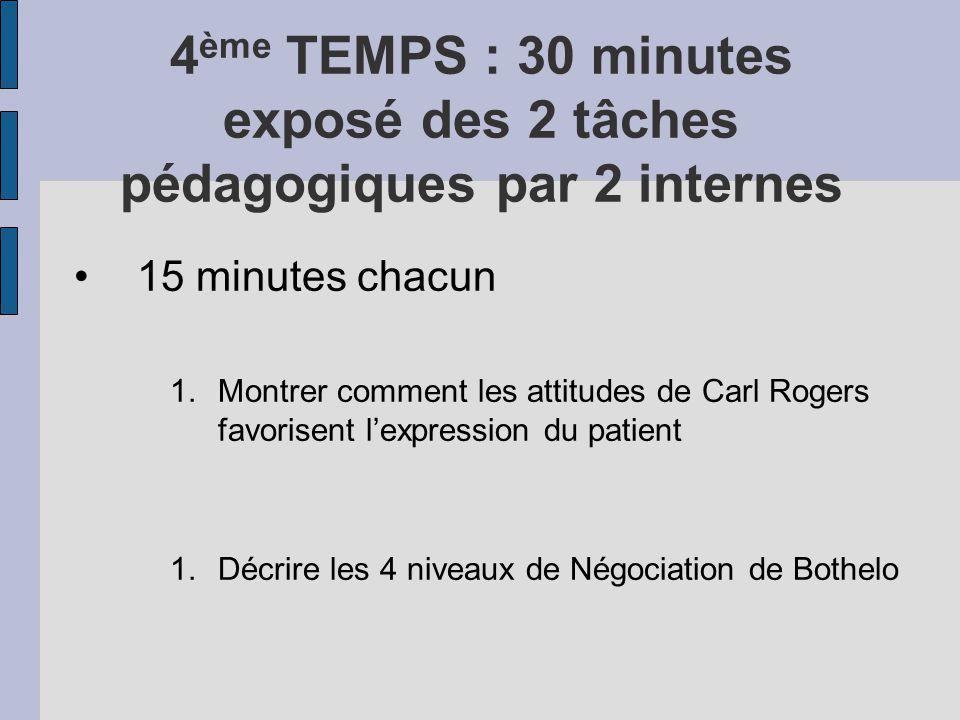 4 ème TEMPS : 30 minutes exposé des 2 tâches pédagogiques par 2 internes 15 minutes chacun 1.Montrer comment les attitudes de Carl Rogers favorisent l